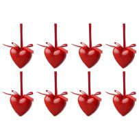 Pack of 8 Love Heart Christmas Tree Decorations